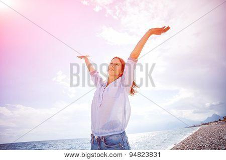 woman against blue sky