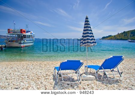 Beach Scene From Corfu Island
