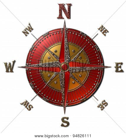 Compass Rose (Gold & Red)