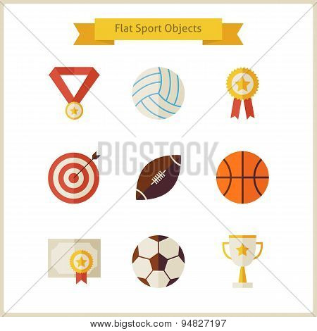 Flat Sport And Competition Winning Objects Set