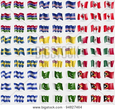 Gambia, Cape Verde, Canada, Sweden, Niue, Mexico, Honduras, Pakistan, East Timor. Big Set Of 81 Flag