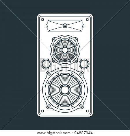 Solid Color Concert Loudspeaker Illustration.