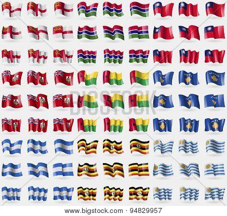 Sark, Gambia, Taiwan, Bermuda, Guineabissau, Kosovo, Nicaragua, Uganda, Uruguay. Big Set Of 81 Flags
