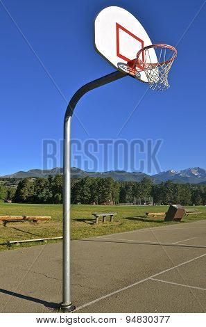 Basketball with mountain background