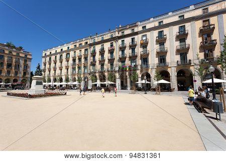 Plaza De La Independencia In Girona, Spain