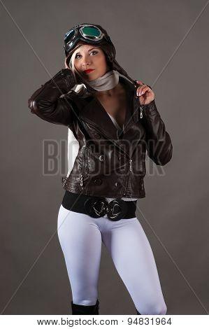 beautiful slim woman in dress pilot