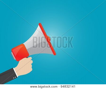 Business Man Holding Megaphone Flat Design Vector Business Illustration Concept Digital Marketing