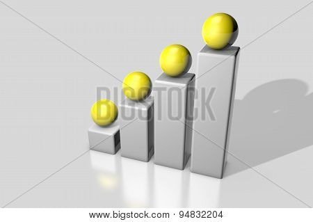 Abstract 3D Rendering Image Showing The Pillars With Balls On Top