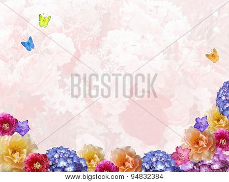 Floral Background With Flower Frame