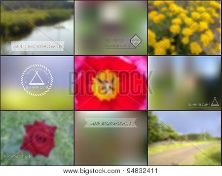 Set Of Summer Camping Blur Backgrounds