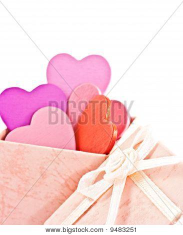 Caja de regalo de madera Color de rosa en forma de corazón