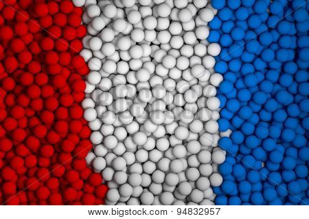 Many Small Colorful Balls That Form National Flag. 3D Render Image.