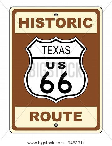 Texas Historic Route Us 66 Sign