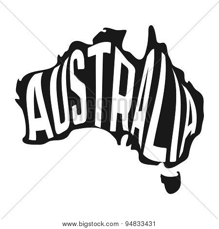 Australian map with text inside on white background