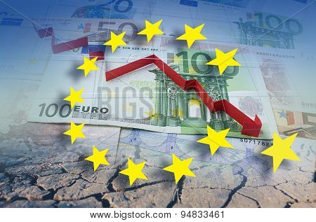 European Union, Financial Crisis In Red Arrow. Concept  Illustration