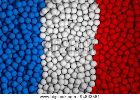 Many Small Colorful Balls That Form National Flag Of France. 3D Render Image.