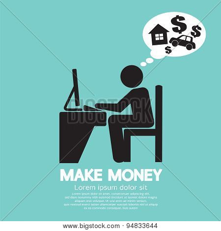 Make Money Person Working With Laptop.