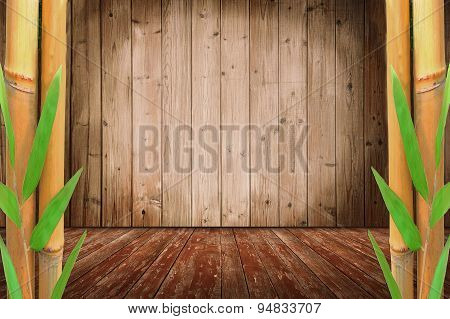 Room Design With Bamboo Cane And Wooden Floor