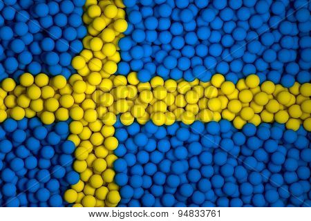 Many Small Colorful Balls That Form National Flag Of Sweden. 3D Render Image.