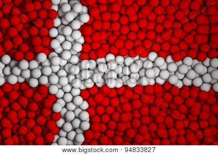 Many Small Colorful Balls That Form National Flag Of Denmark. 3D Render Image.