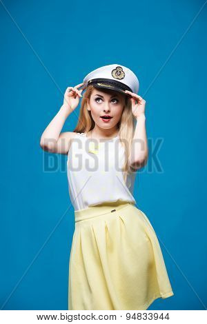 beautiful girl in style of pin-up, Dresses captain cap