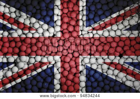 Many Small Colorful Balls That Form National Flag Of United Kingdom. 3D Render Image.