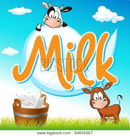 Milk Tag With Cow And Pail On Green Grass