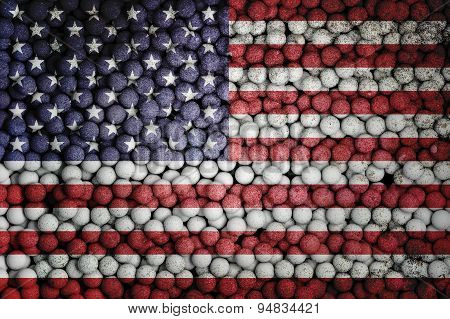 Many Small Colorful Balls That Form National Flag Of Usa. 3D Render Image.