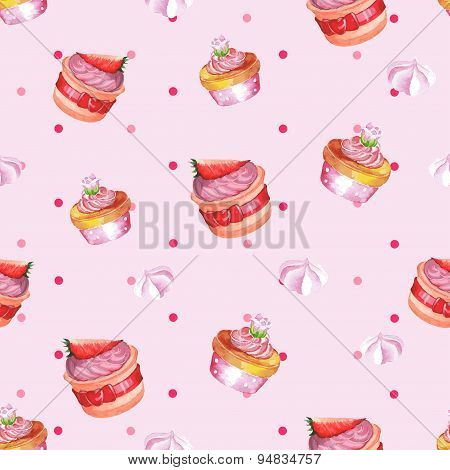 Watercolor seamless pattern with cupcakes. Hand drawn design. Vector illustration.