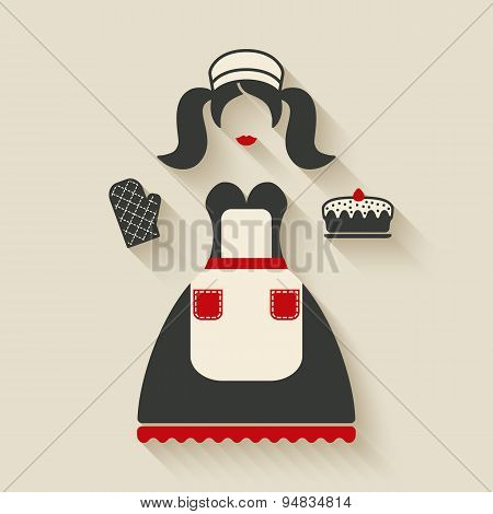 baking concept illustration. girl with pie