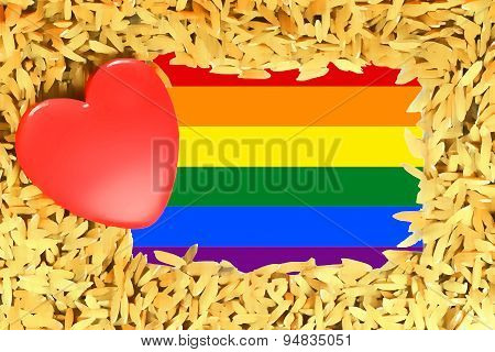 Rainbow Red Heart And The Lgbt Gay Pride Flag