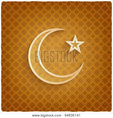 ramadan kareem background with crescent moon and star