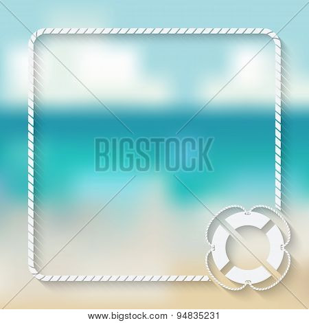 nautical card template with a lifebuoy