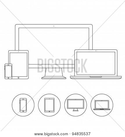 Set of electronic device outline icons