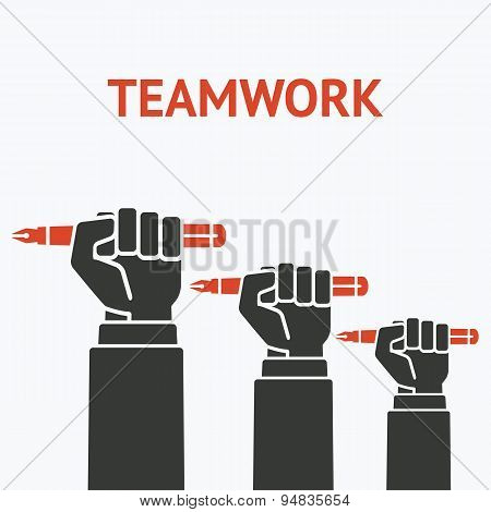 teamwork concept symbol office workers hand with pen