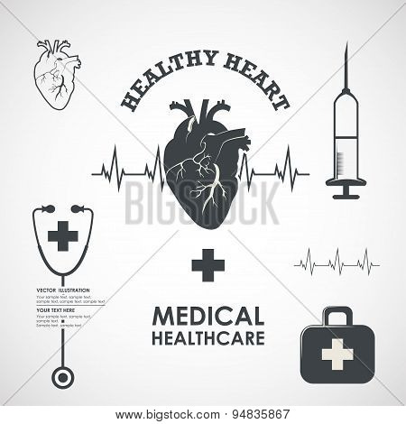 Vector set of heart health medicine label design elements