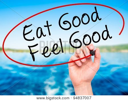 Man Hand writing Eat Good Feel Good with black marker on visual screen.
