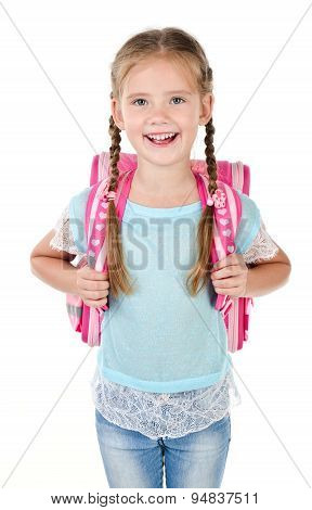 Portrait Of Smiling Schoolgirl With School Bag