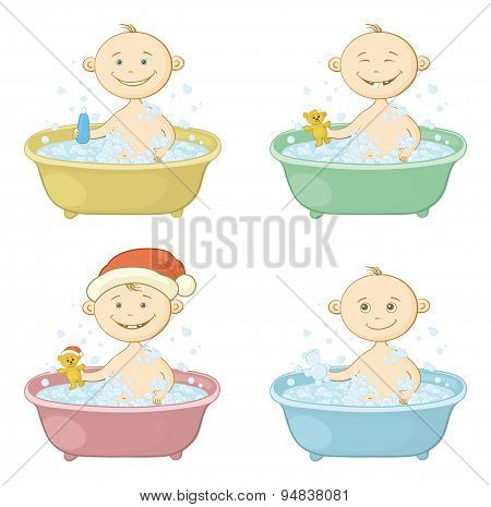 Cartoon children washing in a bath