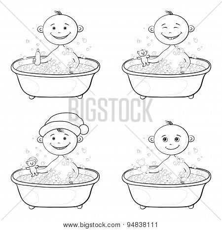 Children washing in a bath, outline