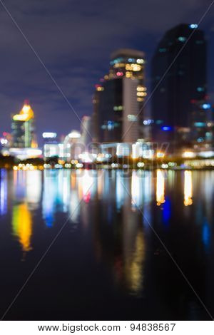 Blurred defocused abstract lights in the big city at night
