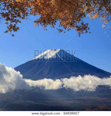 Image Of Sacred Mountain Of Fuji In The Background At Japan