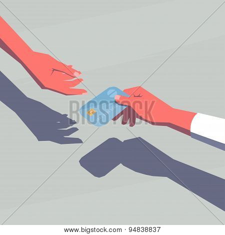 Female hand giving a credit card.