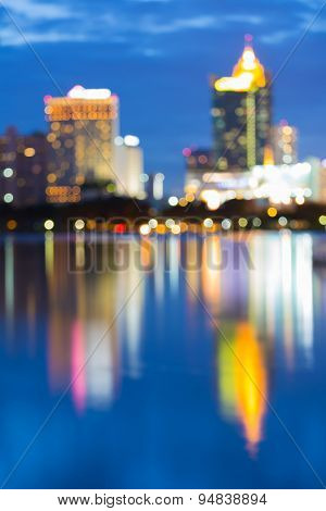 Water reflection of Big city light at night