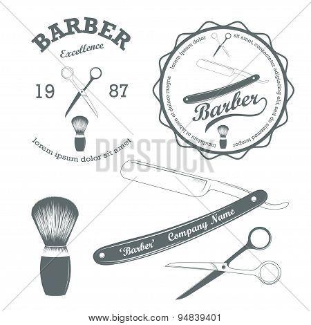 Vector set of vintage retro barber supplies