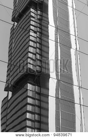 Skyscraper Glass Reflection In Black And White Tone