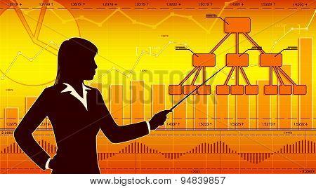 Businesswoman showing diagram