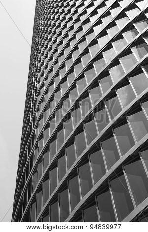 Skyscraper Building Modern Facade In Black And White