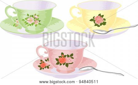 Vector set of cups in a vintage style with a floral pattern.
