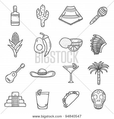 Set of cute hand drawn outline icons on Mexico theme: sombrero, poncho, tequila, coctails, taco, sku